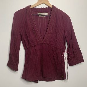 Tommy Hilfiger Eggplant Purple 3/4 Sleeve Blouse